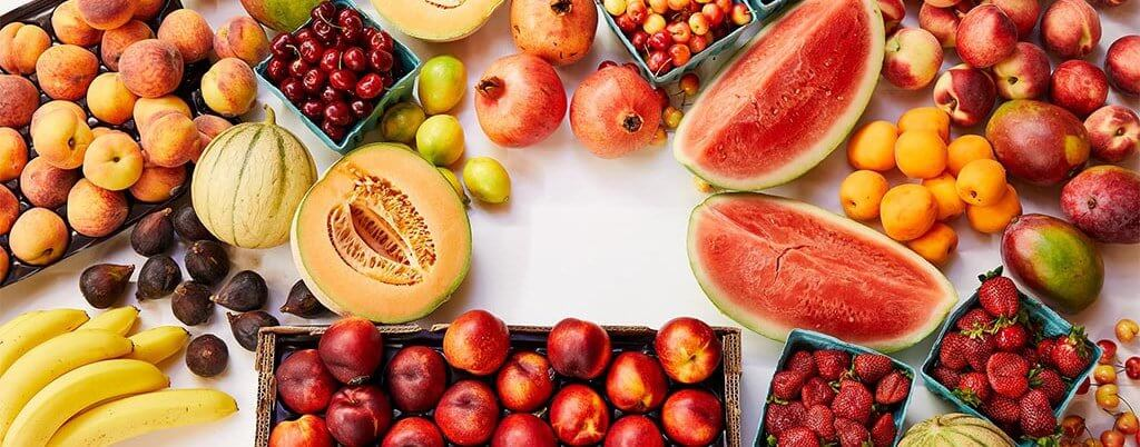 Variety of fruits: watermelon, figs, pomegranets,apricots...