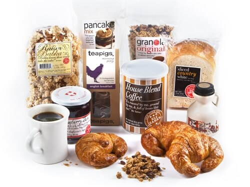 Breakfast Gift Basket Deluxe with 6 croissants, pancake mix & maple syrup