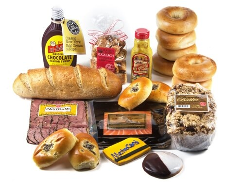 Deluxe New York Deli Experience Gift Basket with 6 bagels and 8 oz. smoked salmon